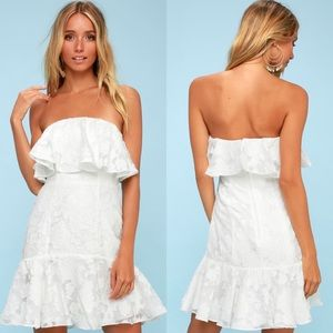 Lulu's Keepsake Floral Lace White Mini Dress